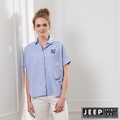 JEEP 女裝 簡約輕薄條紋短袖襯衫-天空藍