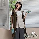 betty's貝蒂思 假兩件無袖拉鍊針織罩衫(深綠)