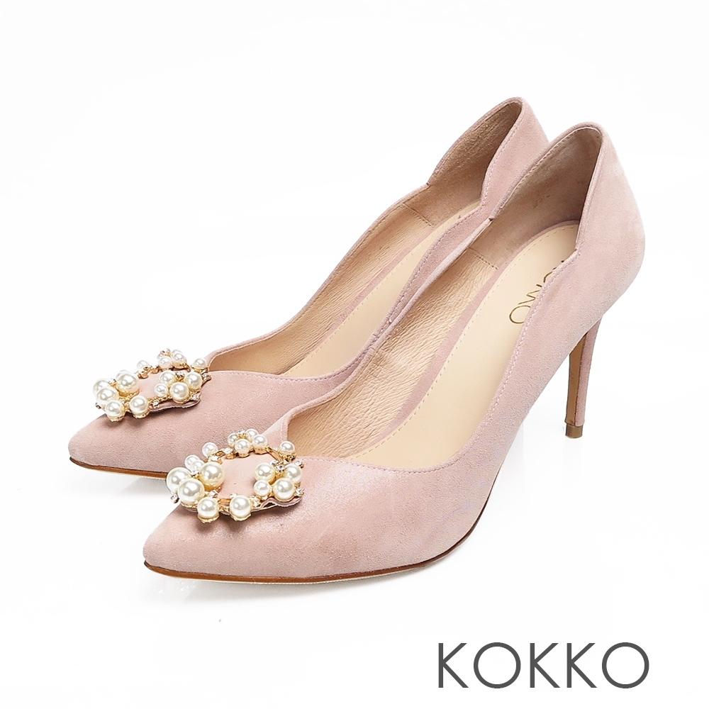 KOKKO浪漫尖頭小香風珍珠真皮高跟鞋幸福粉