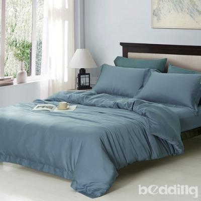 BEDDING-60支100%天絲-6x7尺特大薄床包鋪棉兩用被套四件組-序曲-藍