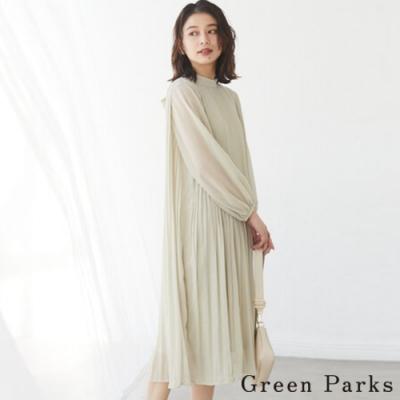 Green Parks 後綁帶雪紡百褶連身洋裝