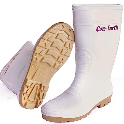 一體成型減壓雙色中筒雨鞋(雲朵白)一雙