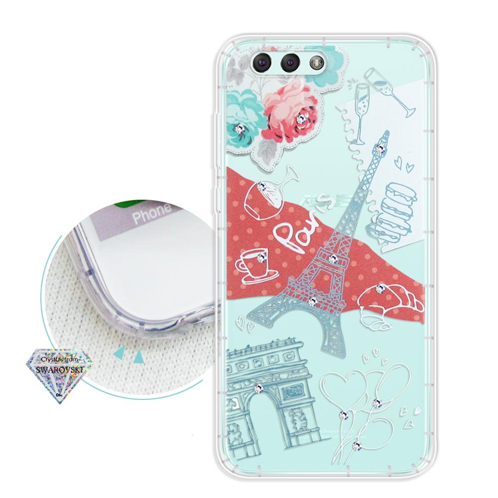 浪漫彩繪 ASUS ZenFone 4 ZE554KL 水鑽空壓氣墊手機殼(巴黎鐵塔)