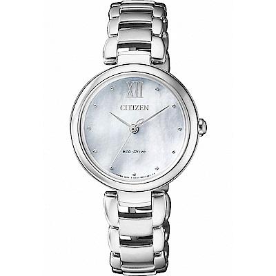 CITIZEN星辰 光動能L系列 優美氣質女錶(EM0530-81D)-白貝/28.7mm