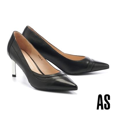 高跟鞋 AS 優雅曲線異材質拼接羊皮尖頭高跟鞋-黑