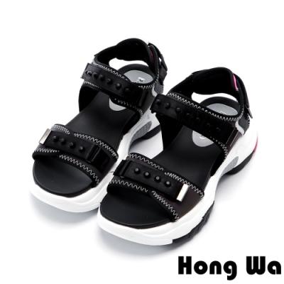 Hong Wa 雙色設計特色防水厚底涼鞋 - 黑