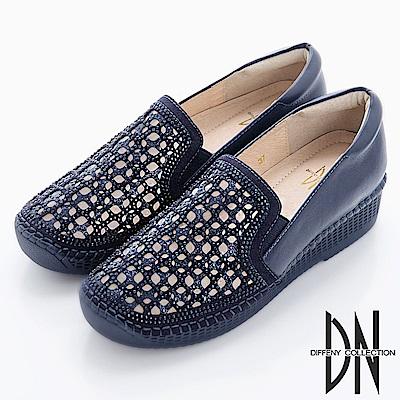 DN 簡約大方 水鑽鏤空雕花厚底休閒鞋-藍