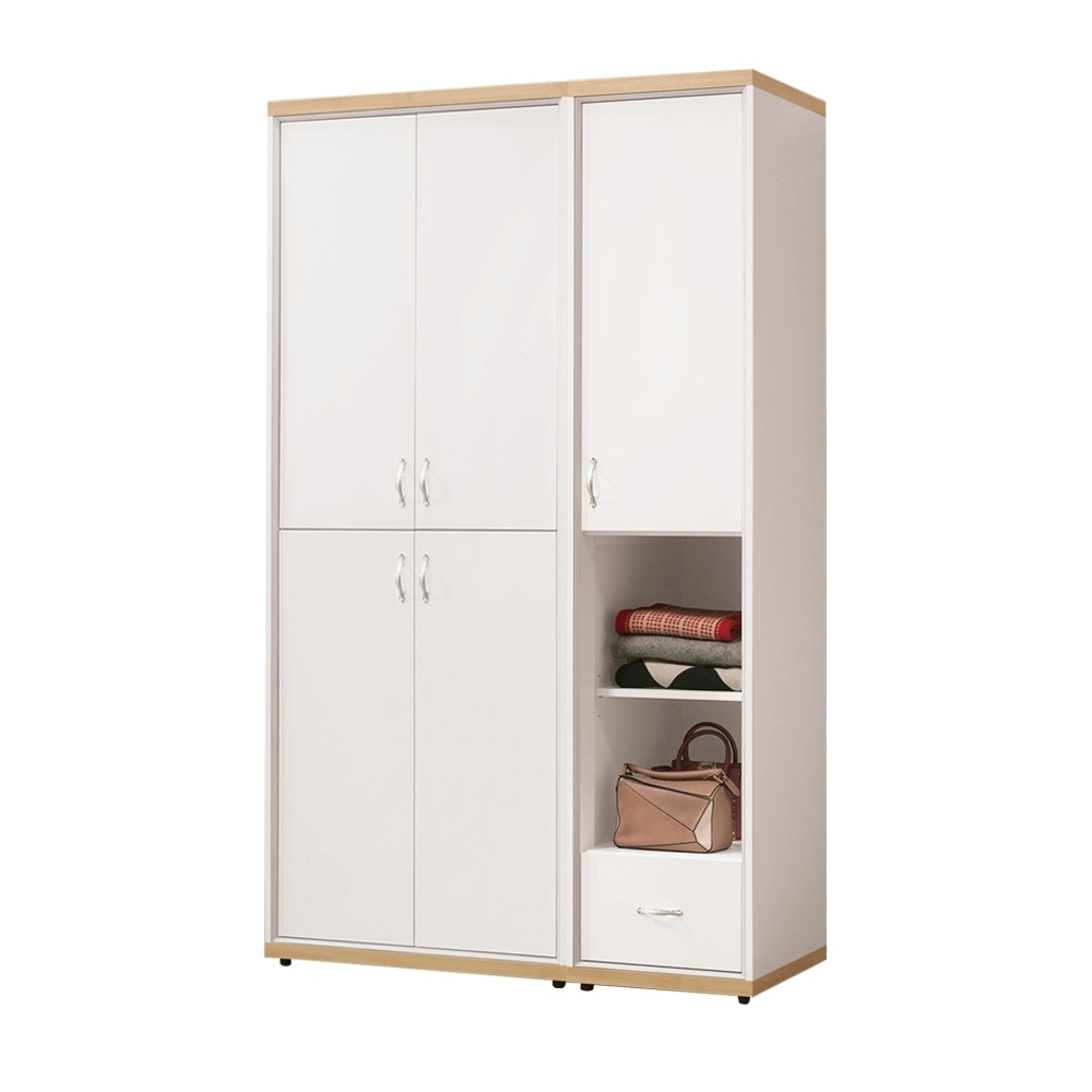 文創集 曼特爾4.2尺衣櫃/收納櫃(吊衣桿+單抽+開放層格)-125x55x202cm免組