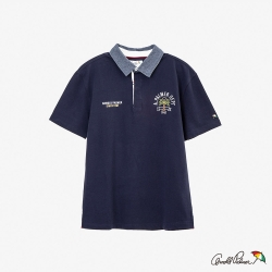 Arnold Palmer-男裝-刺繡LOGO棉質JERSEY POLO衫-藍