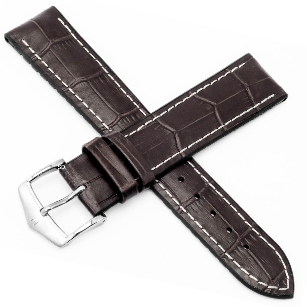 海奕施 HIRSCH George L橡膠芯小牛皮錶帶-深棕
