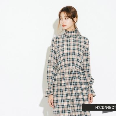 H:CONNECT 韓國品牌 女裝-縮腰魚尾格紋洋裝-綠