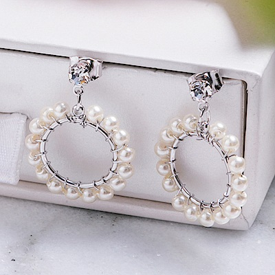 Prisme美國時尚飾品 珍珠花園 銀色耳環 耳針式