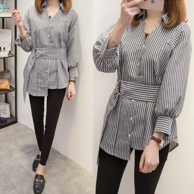 【韓國K.W.】(預購)休閒流行顯瘦腰帶襯衫-2色