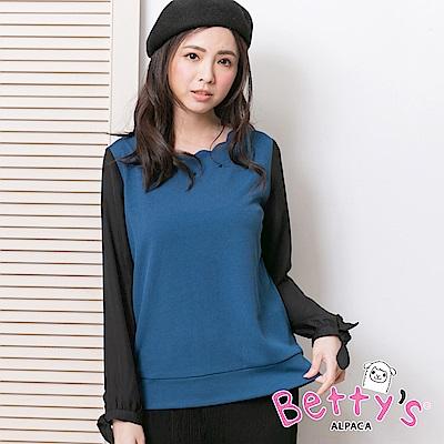 betty's貝蒂思 花邊領口拼接長袖上衣(藍綠)