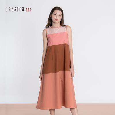 JESSICA RED - 休閒舒適純棉寬鬆圓領無袖長洋裝(橘)