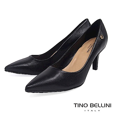 Tino Bellini 巴西進口精緻工藝全編織尖頭跟鞋 _ 黑