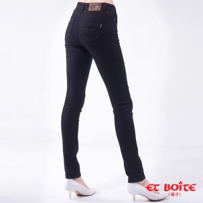 箱子 BLUE WAY-經典弧線8分高腰窄直褲(黑)