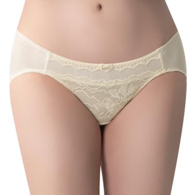 思薇爾 冰雪女王系列M-XL蕾絲低腰三角內褲(清透黃)