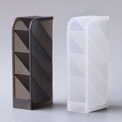 一組3入 斜插式 筆筒 桌面收納 文具置物架四格 多功能長方形收納盒