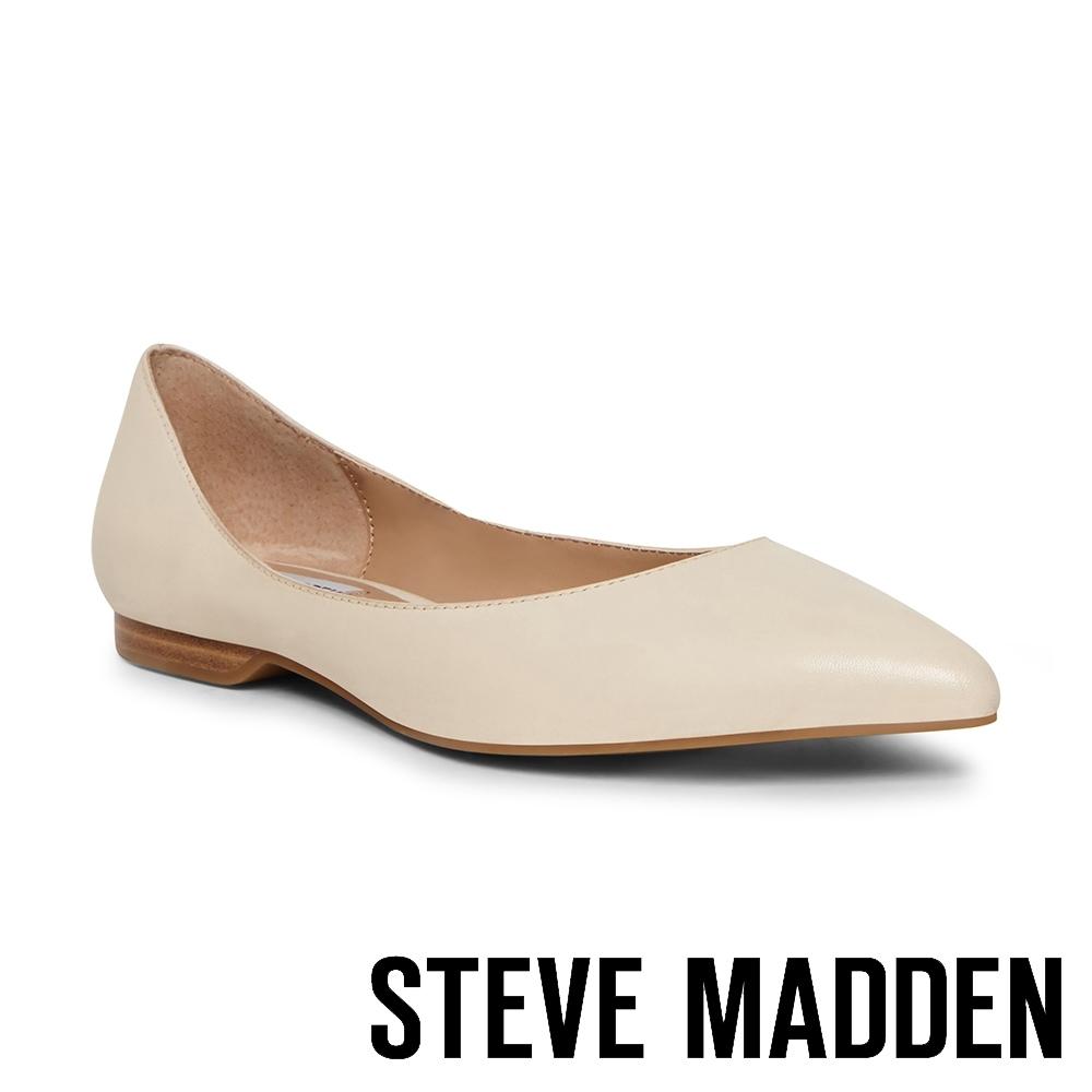 STEVE MADDEN-FALICIA 基本款 尖頭素色平底鞋-米杏色