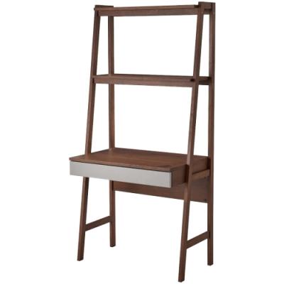 文創集 貝多北歐風2.8尺單抽實木高書桌/電腦桌(純粹木語)-85x55x180cm免組