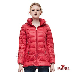BRAPPERS 女款 中長版輕量可拆帽羽絨外套-紅-動態show