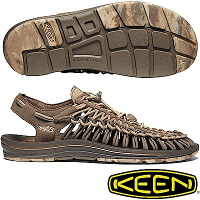 KEEN 1020783巧克力 Uneek男專業戶外護趾編織涼鞋