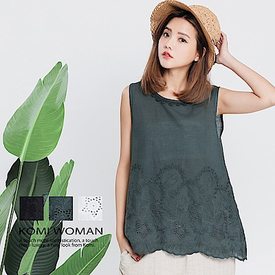 【KOMI】棉麻織花背心上衣 ‧ 三色