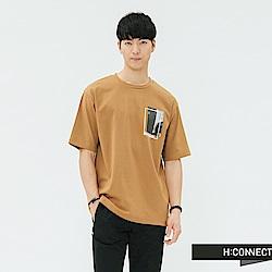 H:CONNECT 韓國品牌 男裝-重疊圖像標語T-shirt-棕