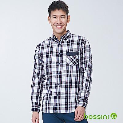 bossini男裝-純棉長袖襯衫05灰白