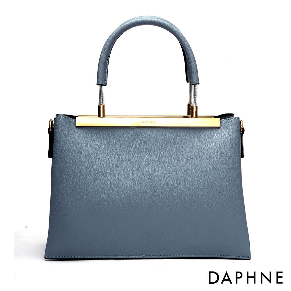 達芙妮DAPHNE-質感原色佐金屬手提肩背兩用包-藍色