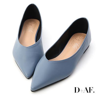 D+AF 韓風時尚.素面尖頭V口平底鞋*藍