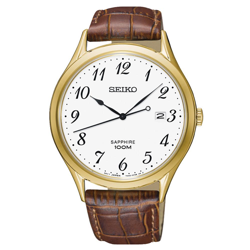 SEIKO 時光領袖藍寶石鏡面石英腕錶(SGEH78P1)-白/40mm