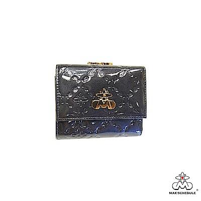 MAK SCHEDULE 有魚系列2 菱形壓魚紋珍珠牛皮零錢三折式短夾