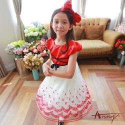 Annys華麗綁帶蕾絲玫瑰網紗禮服*7206紅
