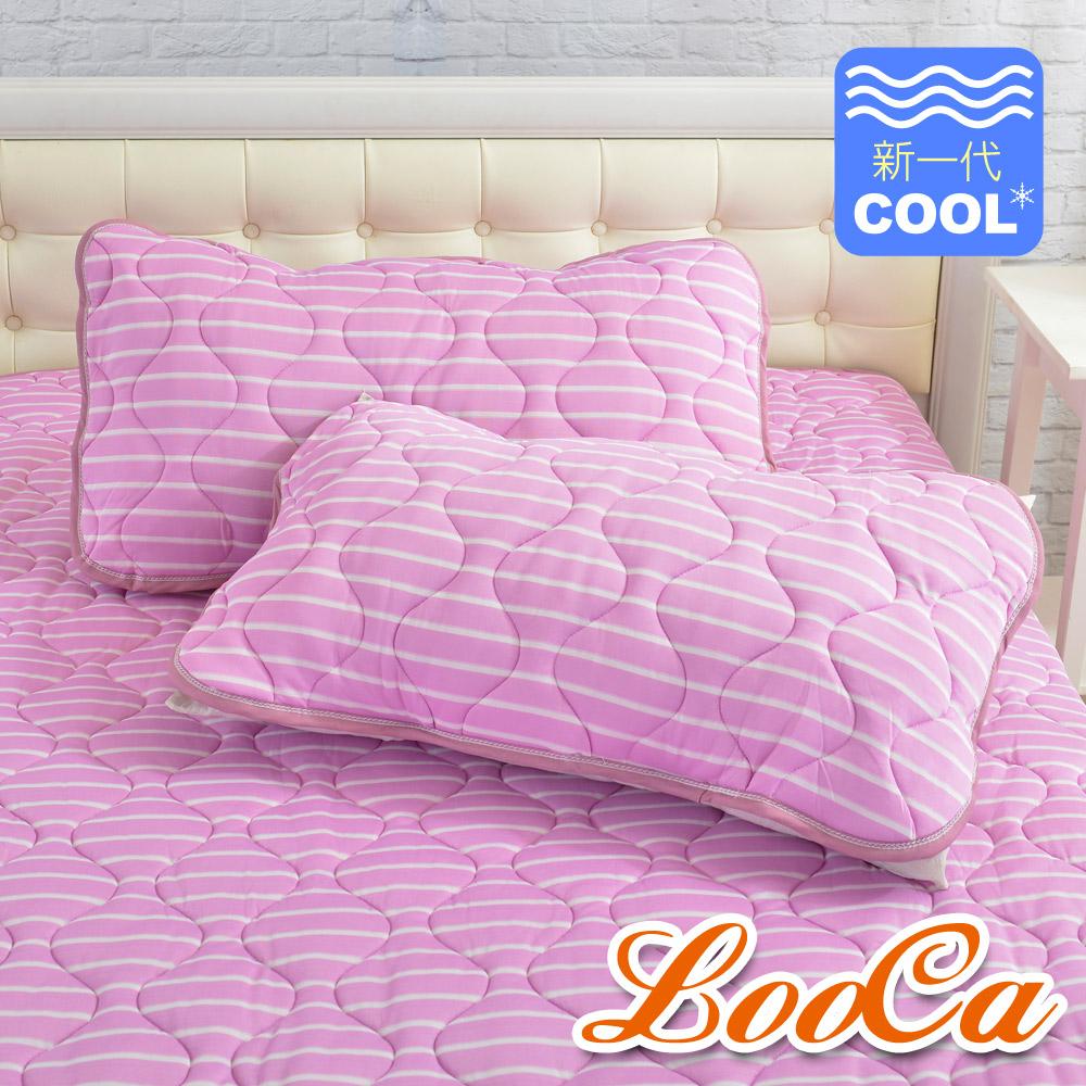 LooCa 新一代酷冰涼枕用保潔墊1入(條紋紫) @ Y!購物