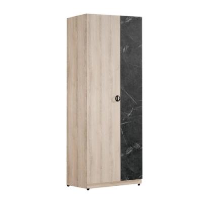 文創集 伊妮 現代2.5尺二門單抽衣櫃/收納櫃-75.5x60.5x195.5cm免組