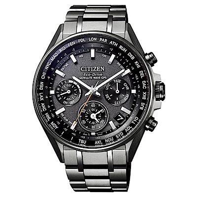CITIZEN 星辰 限量光動能GPS衛星對時錶腕錶-黑CC4004-58E
