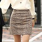 正韓 細緻豹紋後拉鍊高腰短裙 (棕色)-N.C21