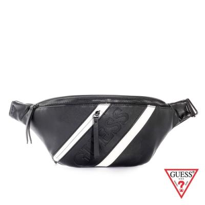 GUESS-男包-黑白斜紋皮革拉鍊腰包-黑