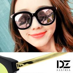 DZ 夏日光采 抗UV 防曬偏光 太陽眼鏡墨鏡(黑框綠彩粉膜)