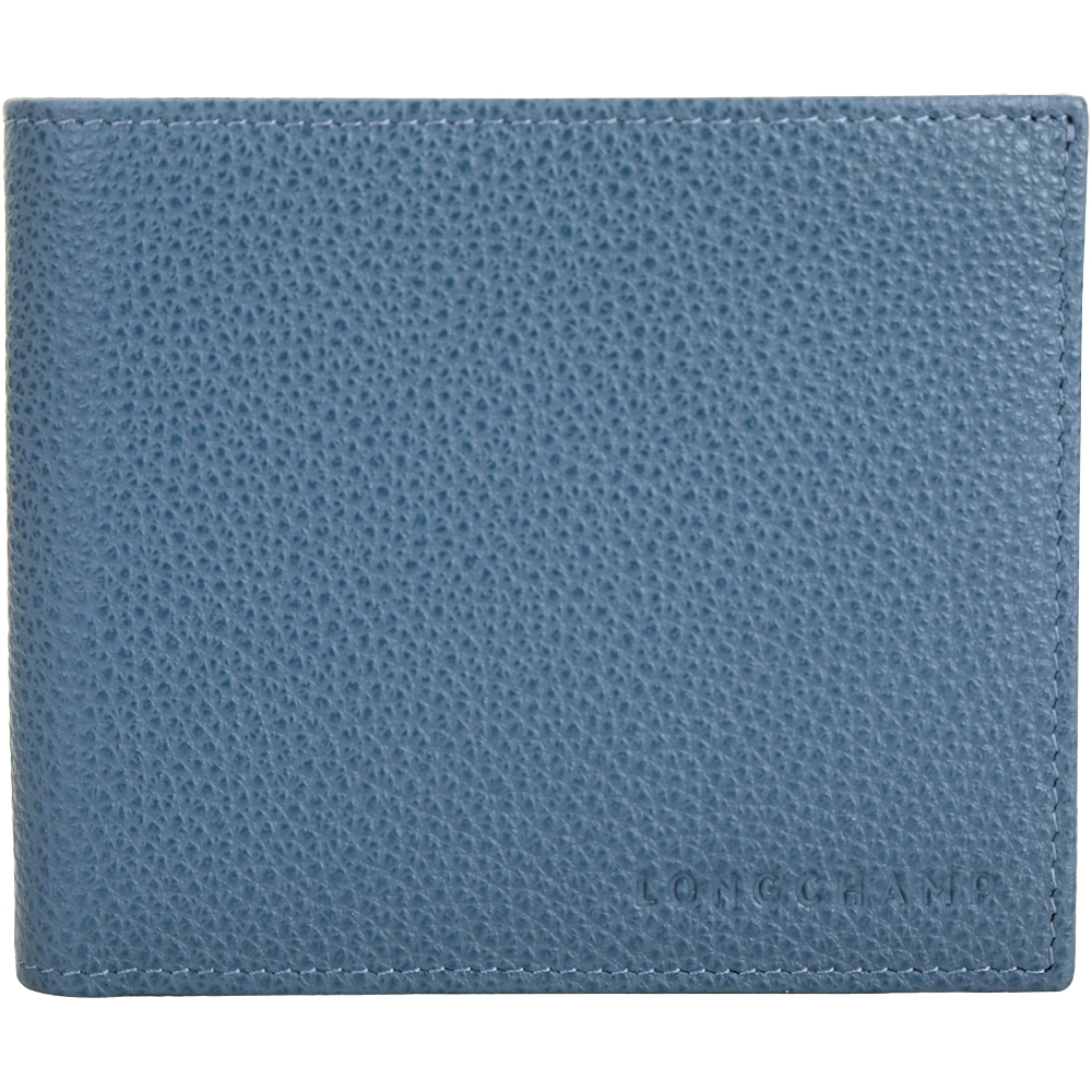 LONGCHAMP Le Foulonne 荔紋牛皮八卡對折短夾(機師藍)