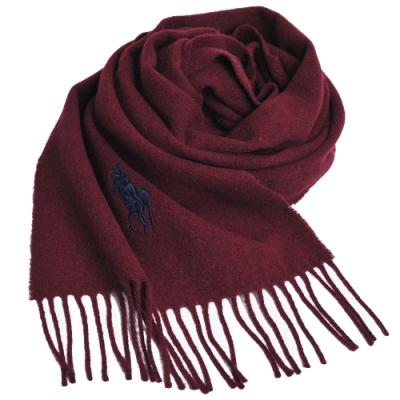 RALPH LAUREN POLO 義大利製大馬刺繡LOGO素面羊毛圍巾(酒紅系)