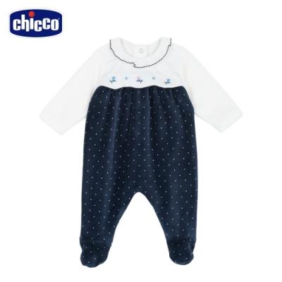 chicco-湛藍花園-剪接點點剪毛絨後開兔裝