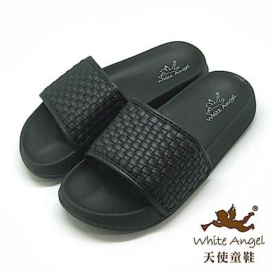 天使童鞋 時尚編織防水拖鞋(超大童)K895C 黑