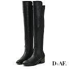 D+AF 黃金比例.彈力布拼接低跟膝上長靴*黑