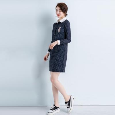2F韓衣-韓系中大尺碼立領俐落洋裝-新(L-3XL)