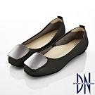 DN 知性素雅 金屬方釦拼接真皮低跟平底鞋-黑