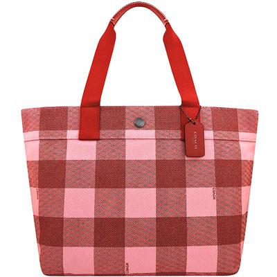 COACH 紅色格紋厚織帆布托特包-大型