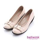 bellwink-雙金屬扣環平底鞋-白-b1003we